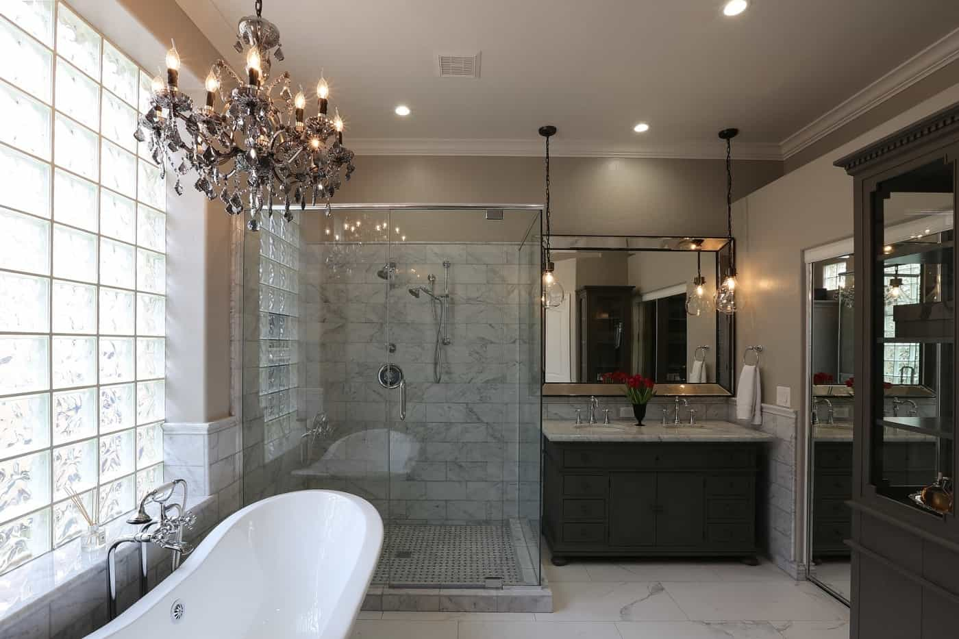 Classical style bathroom with bathtub after renovation